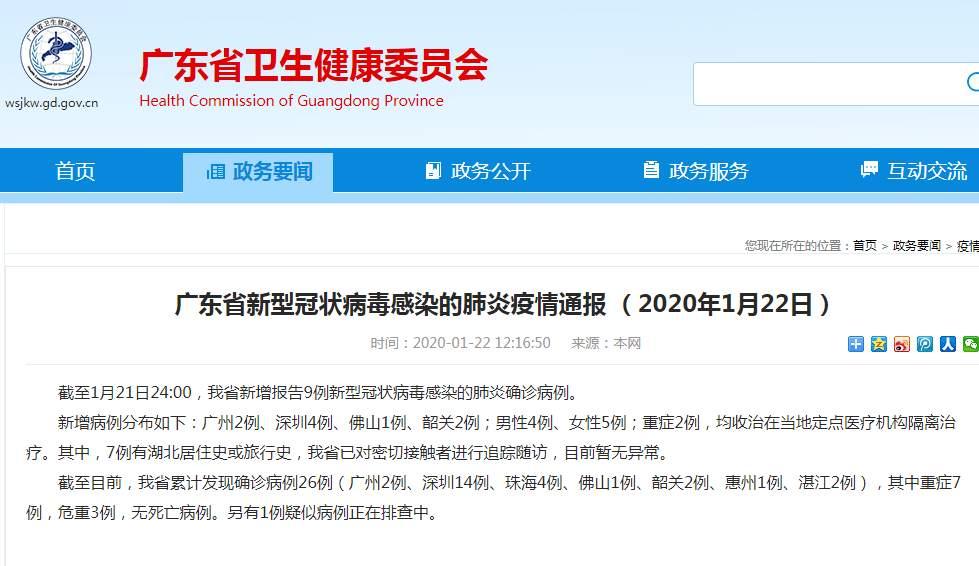 广东新增9例新型肺炎确诊病例