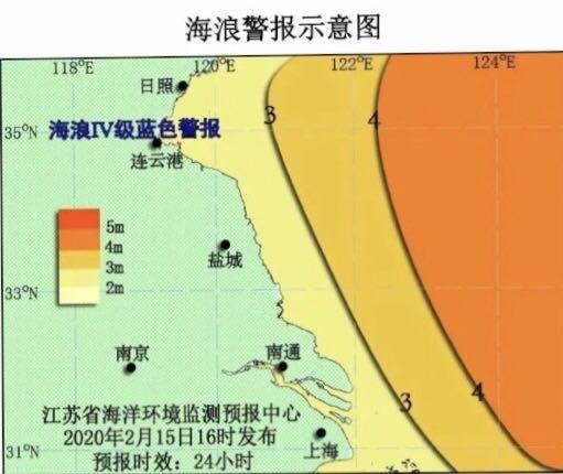 海浪预警!江苏海域海浪Ⅳ级蓝色警报